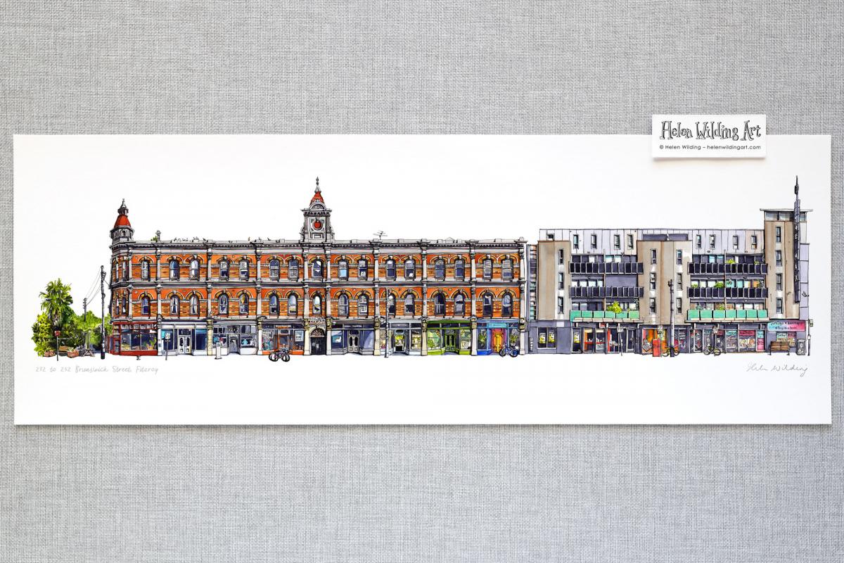 Fitzroy streetscape: 232-252 Brunswick Street. Signed open edition fine art print, Helen Wilding, 2021