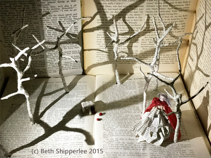 Red riding hood paper sculpture by Beth