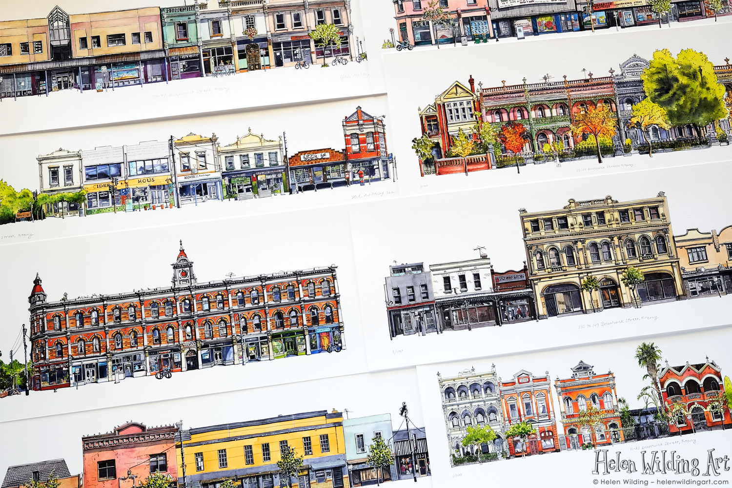 Collection of prints showing buildings and street fronts from Brunswick Street, Fitzroy