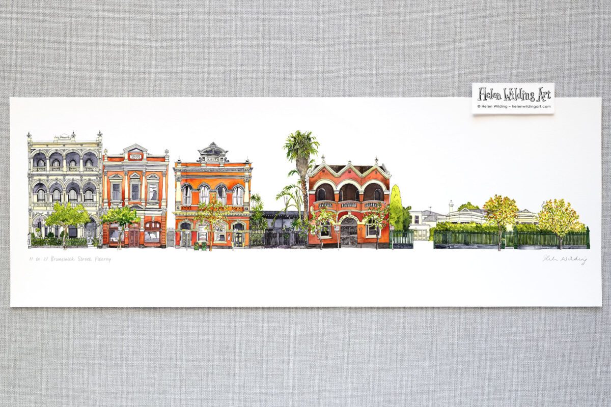 Fitzroy streetscape: 11 to 21 Brunswick Street. Signed open edition print. Artist Helen Wilding, 2019.