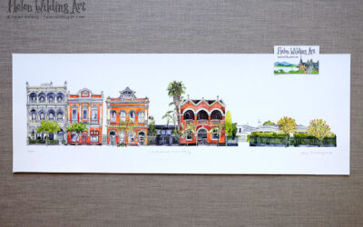 Fitzroy streetscape: 11 to 21 Brunswick Street. Signed limited edition print, Helen Wilding, 2019.
