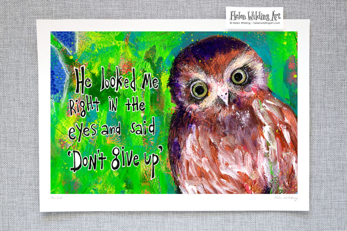 Inspirational owl – He looked me right in the eyes and said don't give up. Signed open edition fine art print, Helen Wilding, 2015.