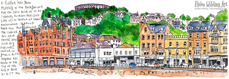 Urban sketch of Oban Scotland with artist notes by Helen Wilding 2017